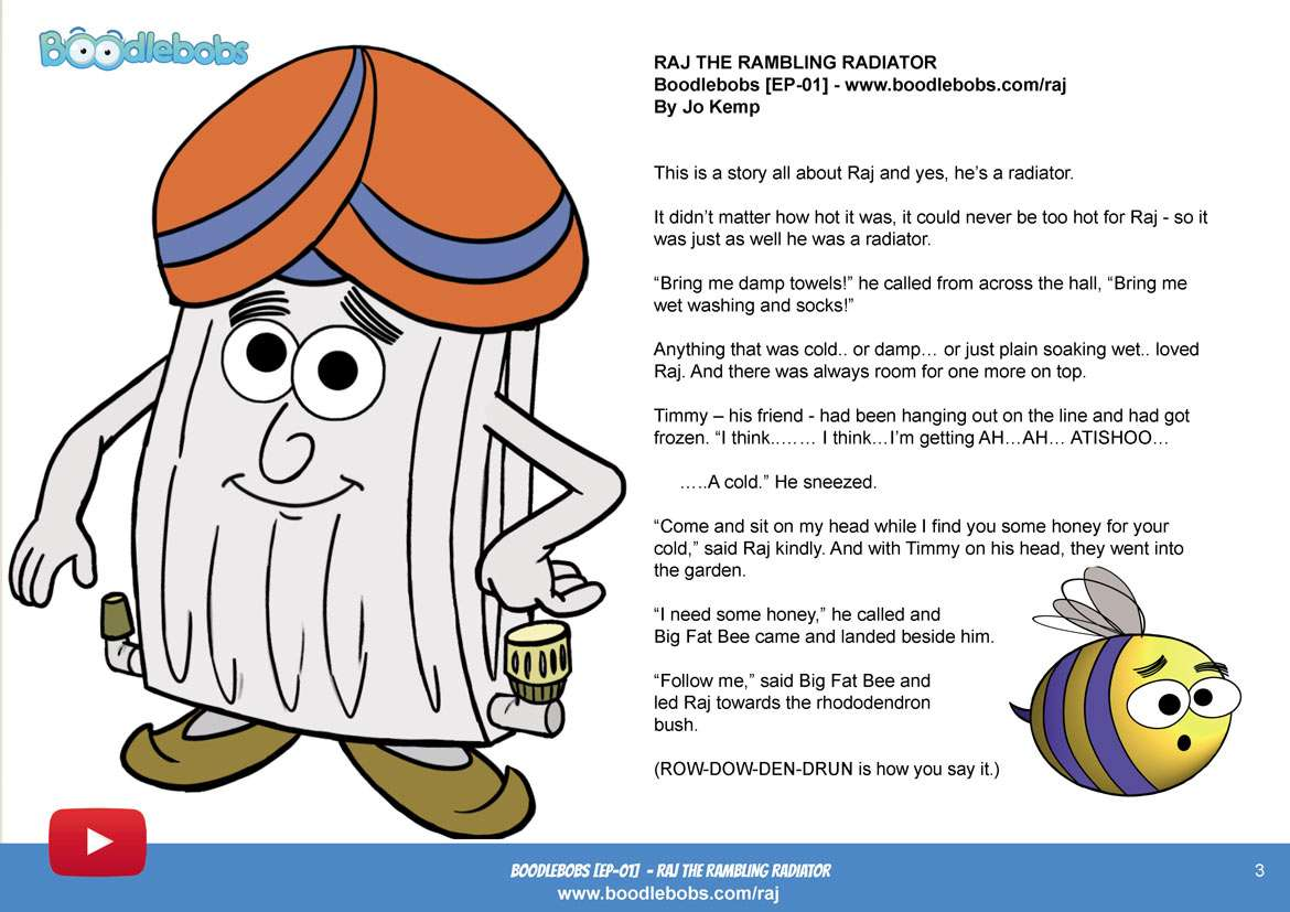 Stories For Kids - Raj The Rambling Radiator Book Page 1