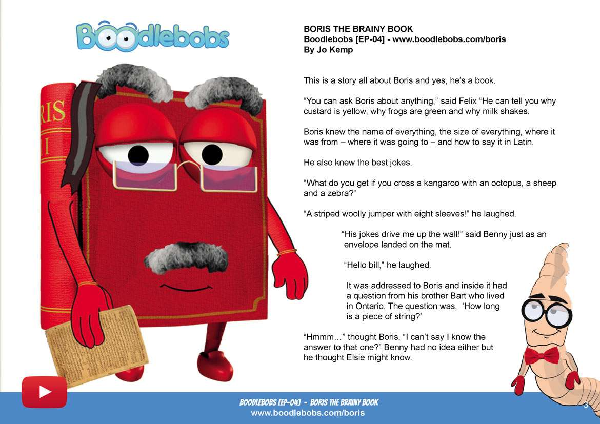 Bedtime Stories For Kids - Boris The Brainy Book Page 1