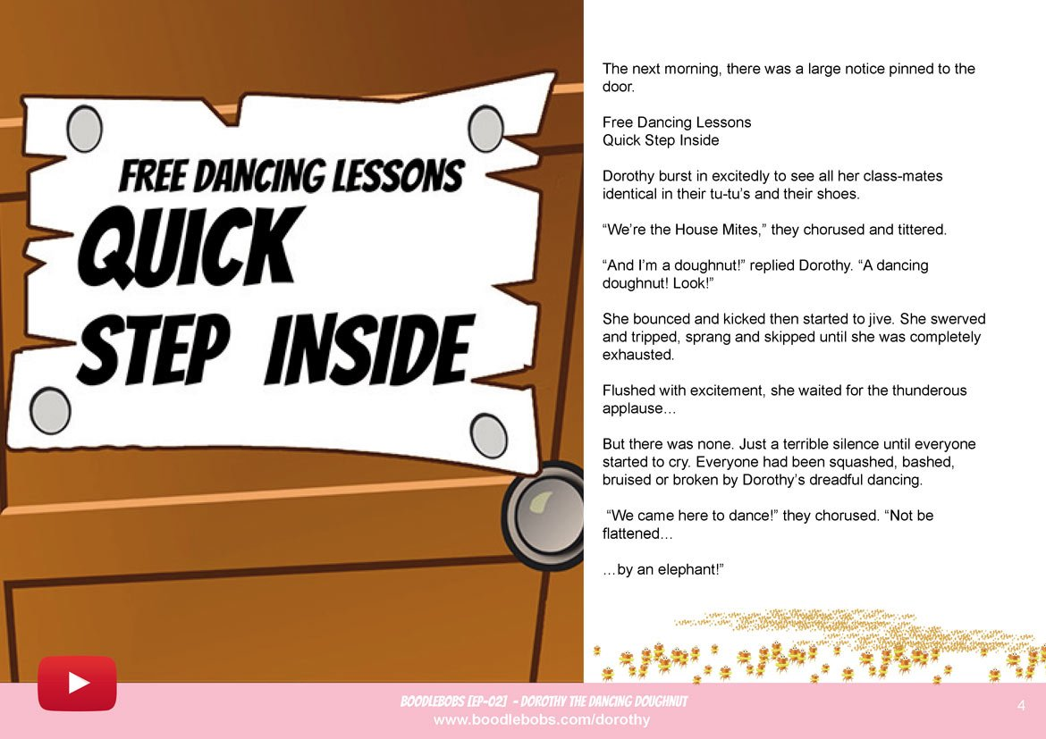Bedtime Stories For Kids - Dorothy The Dancing Doughnut Book Page 2 - BoodleBobs 02