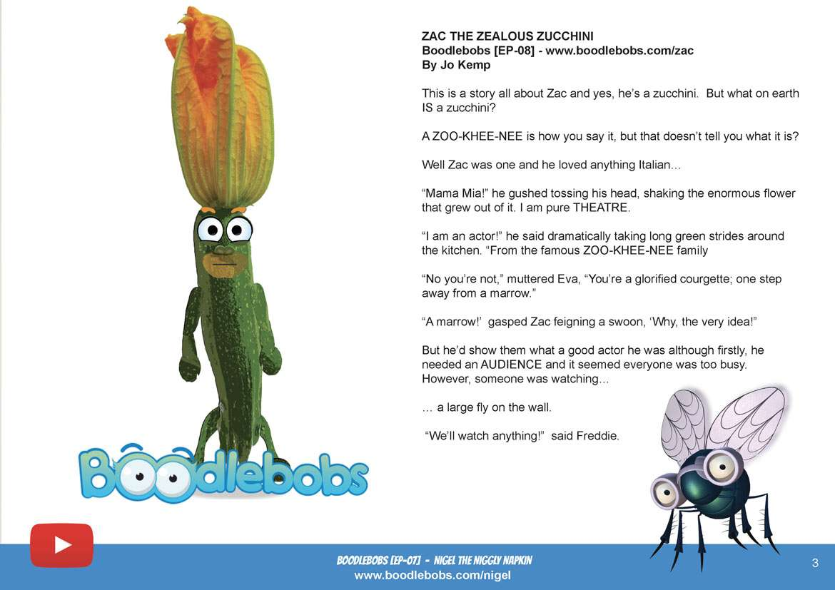 Bedtime Stories Kids - Zac The Zealous Zucchini Book Page 1