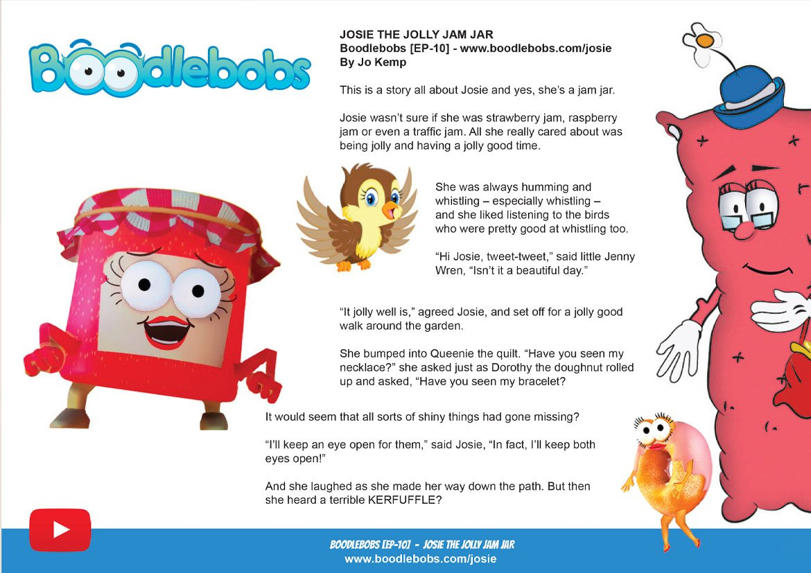 Read Aloud Story BoodleBobs 10 Page 1 - Josie The Jolly Jam Jar