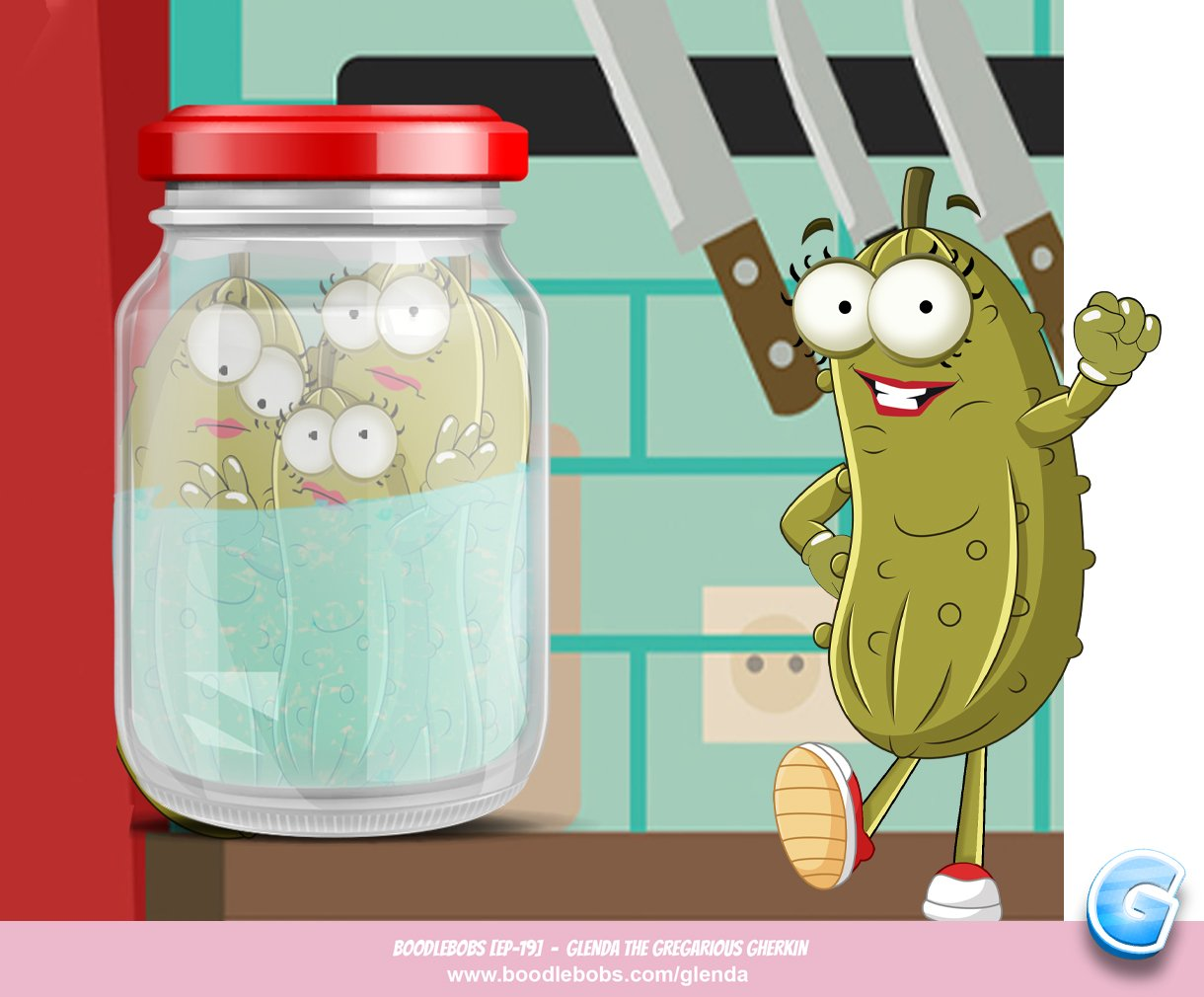 Free Books For Kids, Glenda The Gregarious Gherkin Page 1 BoodleBobs