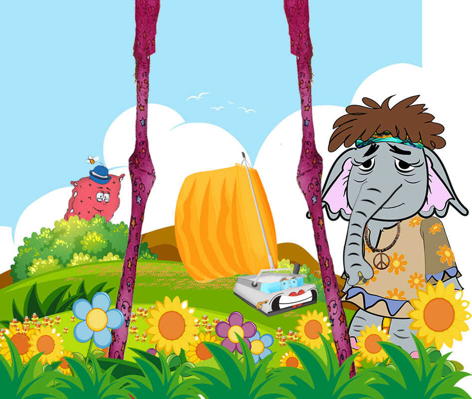 Online Kids Books, Vera Queenie Elsie elephant and fedoras legs